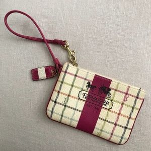 Like New Coach Tattersall Plaid Wristlet